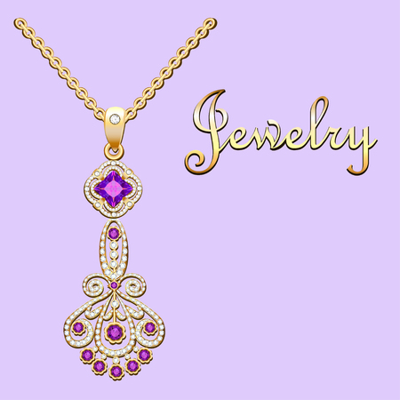 Pendant necklace with precious stones and filigree  lettering. Vintage Illustration