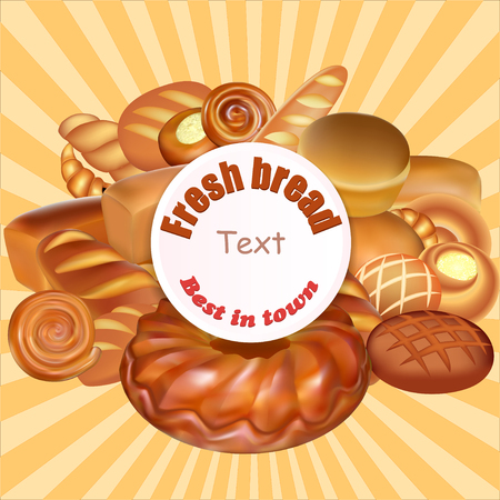bread rolls: Illustration  set of fresh bread baked the best in town. Rolls, baguettes, croissants and tarts Illustration