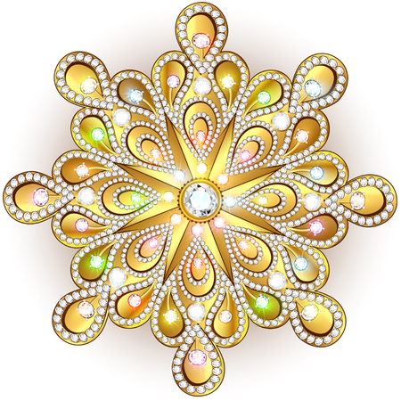 rhinestones: Christmas snowflake crystal precious. Beautiful jewelry, medallion, brooch, decoration on neck, mandala, frame. Fashion pattern brilliant stones, applique rhinestones, jeweler