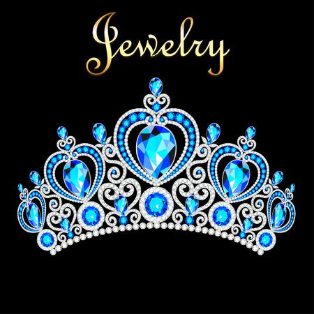 Illustration female crown, tiara, with blue precious stones