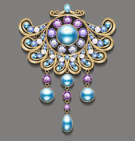 antiquarian: Illustration gold brooch with pearls and precious stones. Filigree victorian jewellery.
