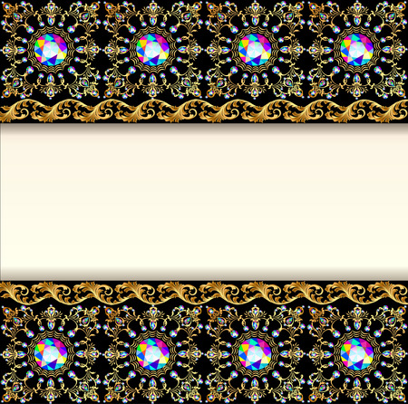 jewels: illustration background with precious stones and decorated band for posts