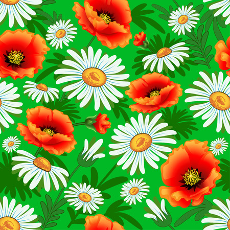 big daisy: Illustration seamless bright with poppies and daisies for fabric