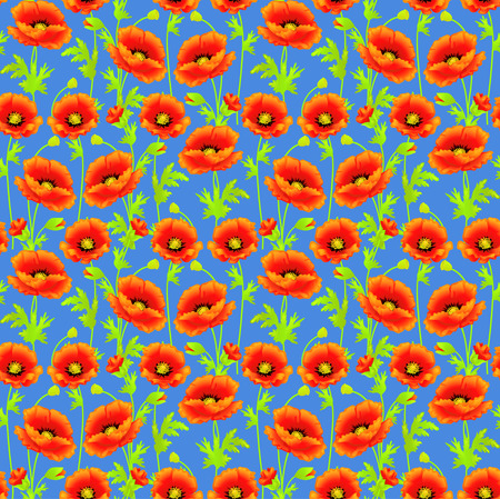 Illustration seamless background with bright poppies tissue or packing