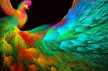 Illustratie van een fractale achtergrond van heldere mooie pauw Stockfoto