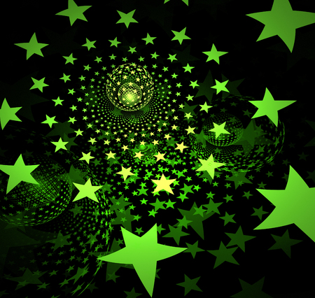 digitally generated image: fractal illustration background with stars and balls Stock Photo