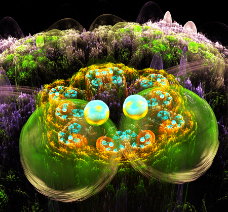illustration of a fractal background ornament with balls Stock Photo