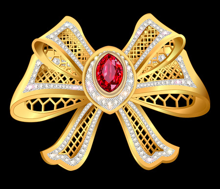 rarity: Illustration of shiny gold bow brooch with mesh and precious stones