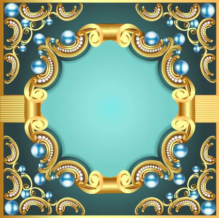 cadre décoratif illustration avec motif perle or Vecteurs