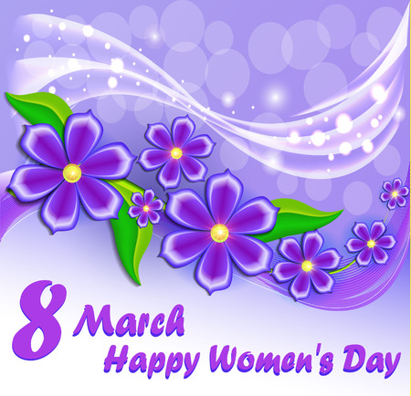 Illustration card Happy Womens Day with a flower Illustration
