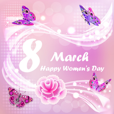 Illustration Happy Womens Day card with butterflies and flower