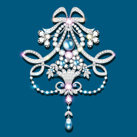 Illustration  brooch with pearls and precious stones. Filigree victorian jewelry. Design element