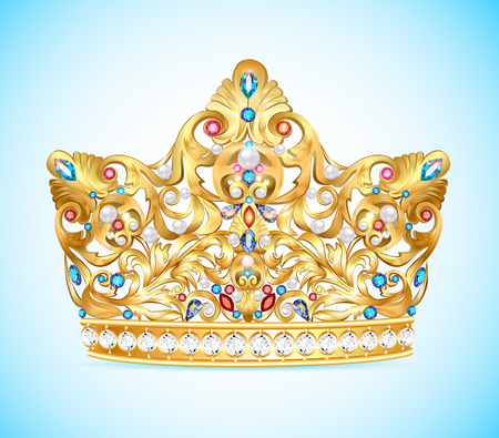 coronation: Illustration royal golden crown with an ornament and precious stones and pearls, Crown headdress, a symbol of monarchical power.