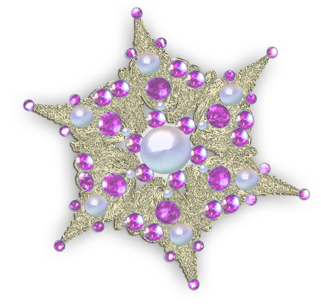 Illustration fractal star brooch with precious stones Stock Photo