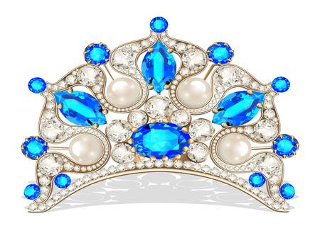 Beautiful diadem feminine wedding with pearl Ilustração
