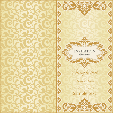 illustration invitation: Illustration of vintage invitation with ornament and place for text