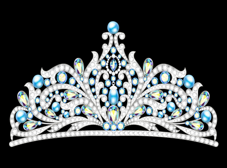 stage costume: Illustration crown tiara women with glittering precious stones Illustration