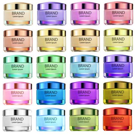 illustration ensemble de bocaux en verre de différentes couleurs pour les crèmes de couleur et les produits pour l & # 39 ; utilisation dans la publicité et la conception