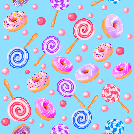 Illustration of seamless sweet fruit donuts candy Ilustrace