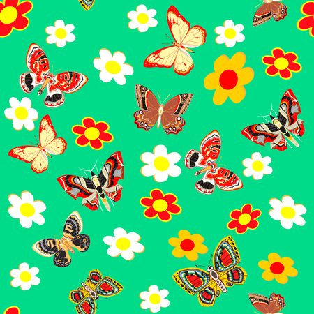green butterfly: illustration green seamless  background  butterfly and flower