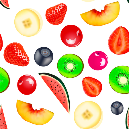 Illustration background seamless vegetarian with fruits and berries strawberry banana blueberry
