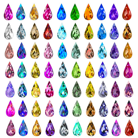 ruby: illustration set of precious stones of different  colors