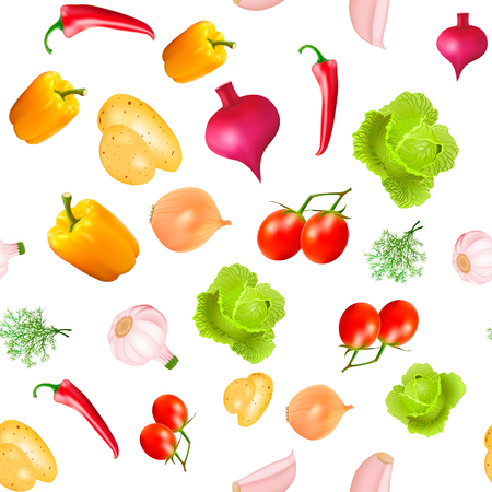 tomate de arbol: Illustration background seamless vegetarian with vegetables cabbage potato beet