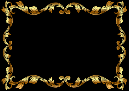 illustration background frame with vegetable gold(en) pattern
