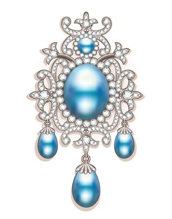 Illustratiebroche met parels en edelstenen. Filigraan Victoriaanse sieraden. Ontwerpelement Stock Illustratie