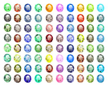 diamond shaped: illustration set of precious stones of different  colors