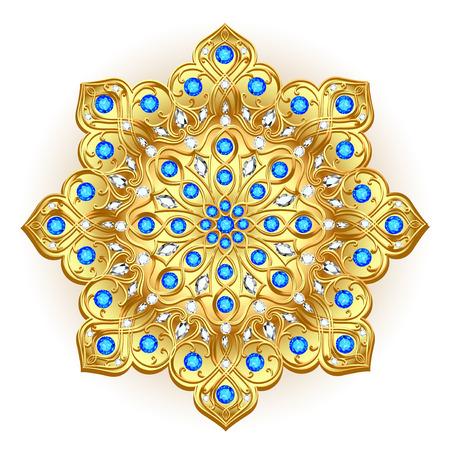 Mandala brooch jewelry, design element. Tribal ethnic floral pattern mandala round with precious stones.