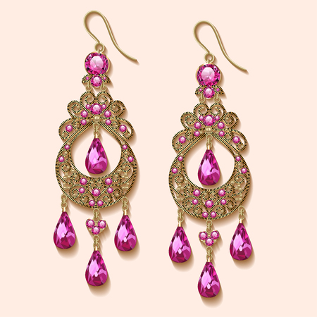 earrings: Illustration of vintage jewelry earrings with pink precious stone Illustration