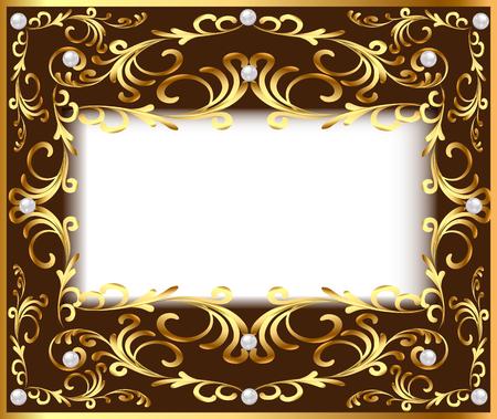 baroque pearl: illustration vintage background frame with vegetable Golden pattern and pearls