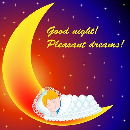 Ilustración del fondo en la luna bebé dulcemente dormido ¡Buenas noches! ¡Felices sueños!