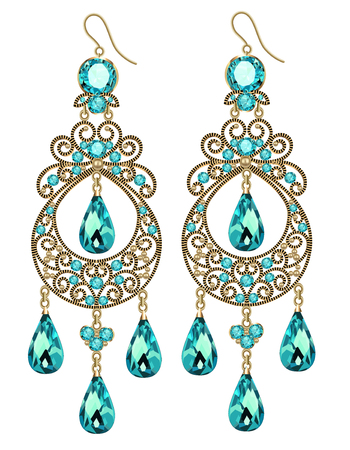 Illustration of vintage jewelry earrings with green gemstone