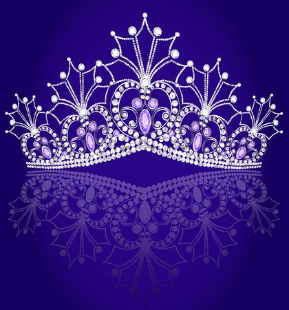 illustrations crown diadem feminine with reflection on turn blue background Illustration