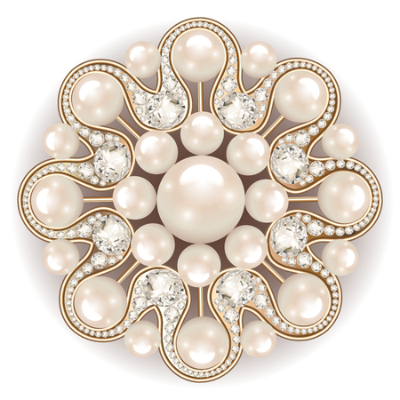Mandala broche juwelen, design element. parel vintage sierachtergrond.