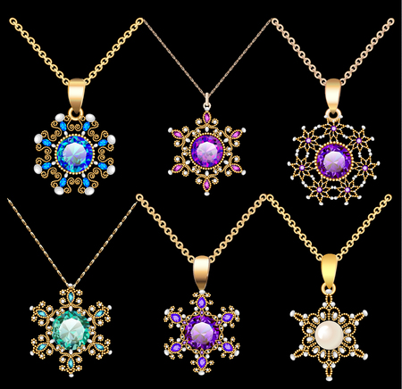 Illustration set of jewelry vintage pendants ornament made of beads of gold color and precious stones and pearls Illustration