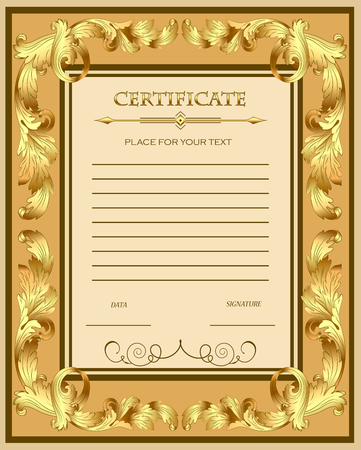 stock certificate: Illustration of a custom certificate template with gold ornaments .