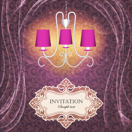 luxury furniture: Illustration background with curtains and a chandelier with the text of the invitation