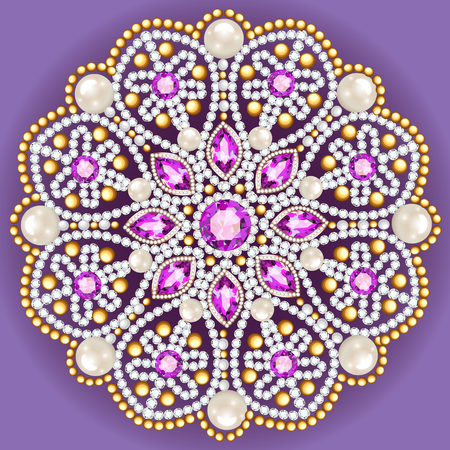 gemstone: Mandala brooch jewelry, design element.  Geometric vintage ornamental background.