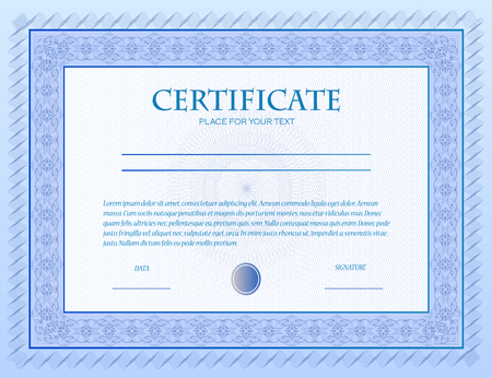 Illustration Of A Custom Certificate Template With Guilloche
