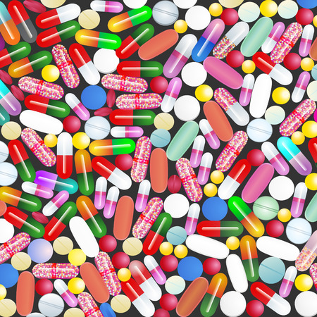 excess: A lot of medicines and pills from the colorful pill all diseases Medical background