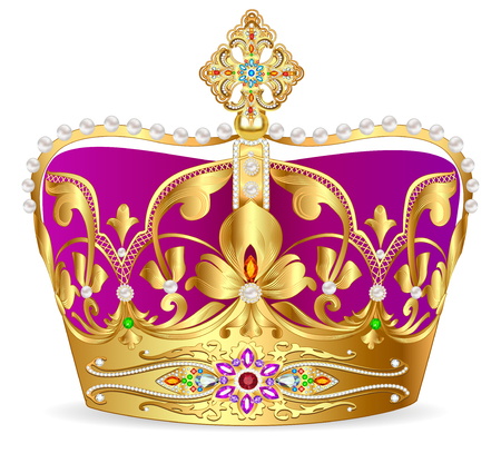 illustration of royal gold crown with jewels and ornament