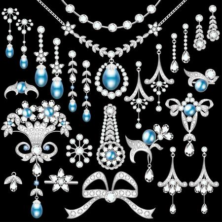 Illustrazione set di gioielli in argento e pietre preziose spilla, orecchini, collana, ciondoli Archivio Fotografico - 82595960