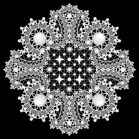 ornamental round lace pattern, background with many details, looks like crocheting handmade lace