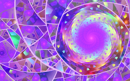 fractal illustration of purple spiral background ornament Stock Photo