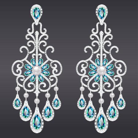 diamond earrings: Illustration of vintage jewelry earrings with green gemstone