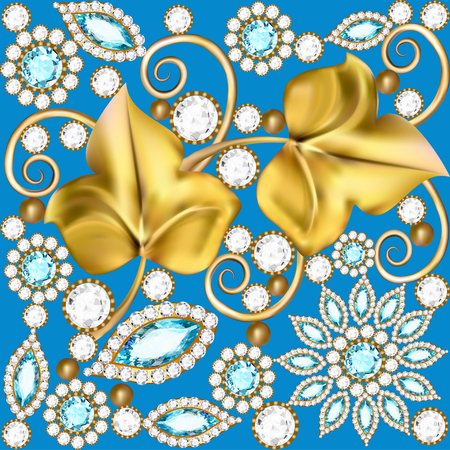 Illustration of a background with jewels ornaments and golden leaves Illustration