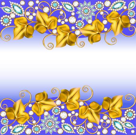 illustration background frame with jewels of ornaments Illustration